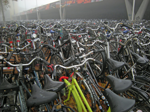 Hundreds of bycycles on a parking place