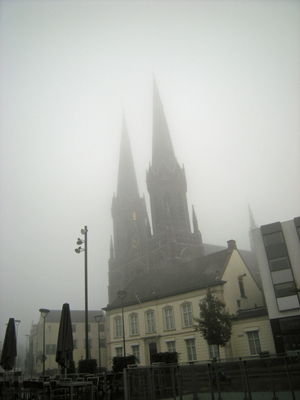 Image of a church mostly behind fog